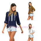 Womens 3/4 Sleeve Crewneck Embroider Floral Fringe Linen Blouse Casual Top Shirt