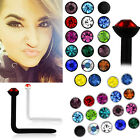 1-4PC 20G (0.8mm) Nose Screw Acrylic 1.5mm Head Bezel Round CZ Crystal Top Sets