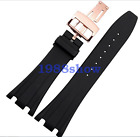 New 26/28mm Black Rubber Watch Band Strap Deployment Buckle For AP ROO Bracelet