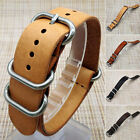 Mens Faux Leather Army Military Watch Strap Band 18/20/22mm Black Brown