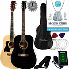 LEFT HAND Dreadnought Full Sized Steel String Acoustic Guitar PACKAGE D1