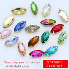 30p 18x9mm navette Crystal glass gold Plate setting Sewing On Rhinestone​s 4Hole