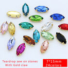 40p 7x15mm color glass crystal navette sew on rhinestone gold plate dress making