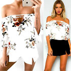 New Women Haif Sleeve Off Shoulder T-Shirt Blouse Casual Loose Ladies Tops Shirt