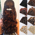 100% Real Thick Clip In Hair Extensions Long Curly 7Pc Full Head Hair Extentions