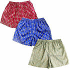 Thai Silk Elephant Boxer Shorts 3 Pairs Red, Blue, Gray Men's Boxers Underwear