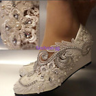White pearls lace crystal Wedding shoes Bridal shoes wedge high heels pumps size