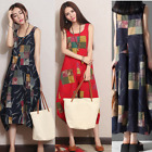 Women Summer Sleeveless Loose Big size long dress Cotton Linen Casual Maxi New