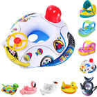 Kids Baby  Toddler Swimming Pool Swim Seat Float Boat Ring With Wheel and Canopy
