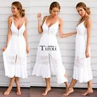 Women Summer Vintage Boho Long Maxi Evening Party Beach Dress Sundress TXCL01