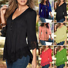 New Women Ladies Long Sleeve Casual Shirts Loose Blouses T-Shirt Tops Plus S-4XL