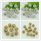 50pcs 6mm/8mm silver/gold Bayberry Ball Rhinestone Crystal Spacer loose beads