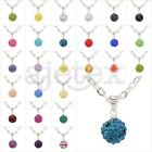 1pcs Multicolor Czech Crystal Rhinestones Disco Ball Pendant Necklace Chain