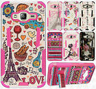 For Samsung Galaxy Amp Prime HYBRID KICK STAND Rubber Case Cover +Screen Guard