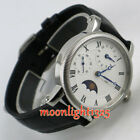 Parnis 42mm white dial  GMT moon phase hand winding movement mens watchs p01