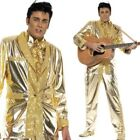 Adult Mens Elvis Presley Costume Gold Tuxedo Suit Fancy Dress Party Outfit New