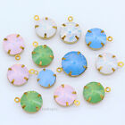 8-14mm  Round opal color Framed Glass bead Pendants Earrings necklace Connectors