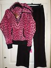 Betsey Johnson Animal Print Micro-Fleece Pajama Set  Size Medium Women's