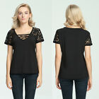 Women Lace Floral Short Sleeve Shirt Tee Bead OL Slim Blouse Tops Size S-XL New