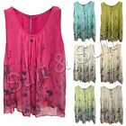 New Womens Italian Lagenlook Quirky Layer Harem Silk Floral Vest Top One Size