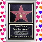 PERSONALISED HOLLYWOOD STAR OF FAME GIFT TO SAY THANK YOU TO YOUR DANCE TEACHER