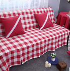 Red W Check Cotton Linen Blend Slipcovers Sofa Cover TusL 1 2 3 4 seats
