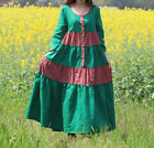 Fashion womens ladies new retro loose long sleeve dress green/red gown robe size