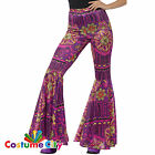 Womens Pink Psychedelic Flared Trousers Hippie 60s Flares Fancy Dress Accessory