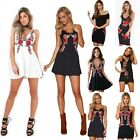 Summer Women's Embroidery Floral V Neck Dress Slim Evening Party Prom Strappy