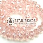 FACETED RONDELLE CRYSTAL GLASS BEADS 4MM,6MM,8MM,10MM - VINTAGE ROSE (HALF AB)