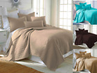 Nena 2/3 Piece Bed Bedspread Soft Quilt Coverlet Solid Stippling Stitch Set image