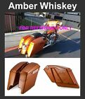 """Amber Whiskey 4.5"""" Stretched Extended Saddlebags for Harley 14 15 16 17 Touring"""