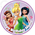"""EDIBLE Tinkerbell Disney Fairies Cake Topper Wafer Paper Round 7.5"""" (uncut)"""