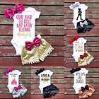 3PCS Newborn Infant Baby Girls Outfit Clothes Romper Jumpsuit Bodysuit+Pants Set