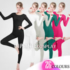 Unisex Lycra Spandex Unitard Scoop Neck Long Sleeves Footless Elastane Bodysuit