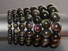 Natural AAA rainbow eye obsidian round beads stretchable bracelet 6mm- 20mm