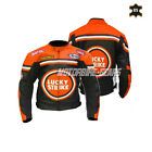Orange motorbike leather jacket lucky strike style motogp racing jacket armoured