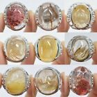 Golden rutilated quartz Phantom quartz adjustable ring US Size 6.5+
