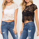 Fashion Women Short Sleeve Lace Blouse Short T-shirt Summer Crop tops Pullovers