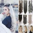 100% Real Natural Hair 8 Piece Full Head Clip In Hair Extensions ombre style FO5