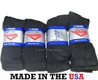 12 Pairs Mens Lightly Cushioned Cotton Blend Crew Socks USA Made  Choose Color