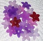 40 Frosted Acrylic Lucite Flower Beads 17mm  Purple Madness