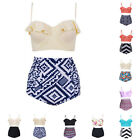 Women's Vintage High Waisted Bikini Set Push Up Padded Swimwear Swimsuit M-4XL