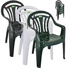 Plastic Garden Low Back Chair Stackable Patio Outdoor Party Seat Chairs Picnic