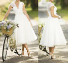 Strapless Organza Beach Lace Wedding Dresses white/ivory  Bridal Gowns Size 6-18