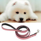 Dog Pet Leash Lead Flocking Leather Walking Soft Firm Comfortable 5 Colors Pick