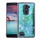 For ZTE Zmax Pro Bling Hybrid Liquid Glitter Rubber Protective Case Cover