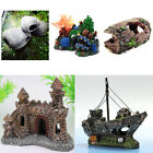 NEW Fish Tank Aquarium Barrel Resin Ornament Castle Wreck Boat Stone Cave Decor