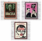 Vintage Poster Art Canvas Print 28 x 38cm Dracula Morecambe & Wise Rocky Horror