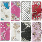 Leather Wallet Cases Bling Crystal Flip Stand Case Cover For Samsung Galaxy